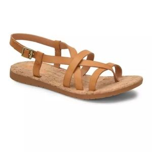 New Korks Filicity Strappy Leather Sandals Yellow